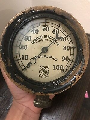 Antique All Brass G E Co Ashcroft Water To Oil Cooler Gauge Steampunk Industrial