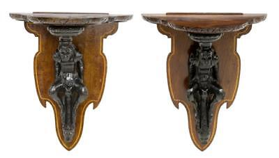 TWO FIGURAL CARVED WALL BRACKETS ITALY, 19th Century ( 1800s )