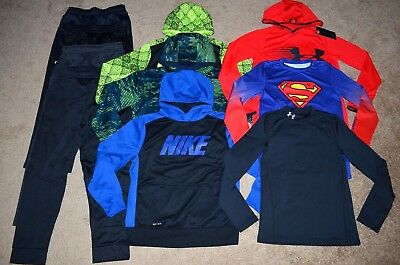 Lot of 10 Boy's Nike/Under Armour/Adidas Hoodies/Long Sleeve Shirts/Pants Size L