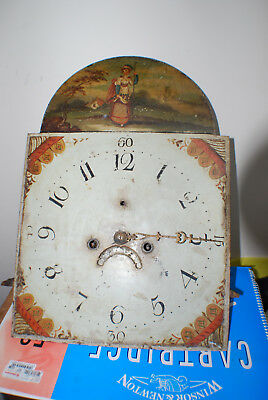 A Stunning Hand Painted Grandfather Clock Face And Movement