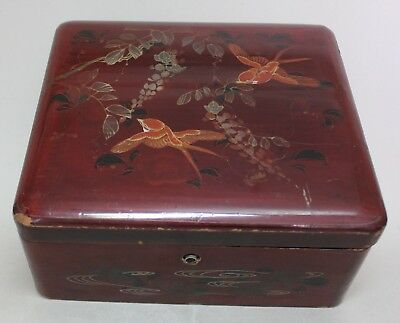 Antique JAPAN Japanese LACQUER Big WOODEN BOX with BIRDS