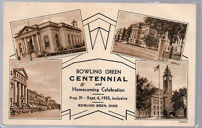 Bowling Green, Ohio, Postcard, Centennial And Homecoming Celebration, 1933