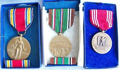 Vintage WW2 US Victory European African Mid-East Campaign Good Conduct Medal Lot