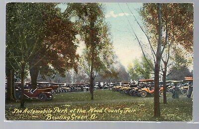 Bowling Green, Ohio, Postcard, The Automobile Park At The Wood County Fair, 1918