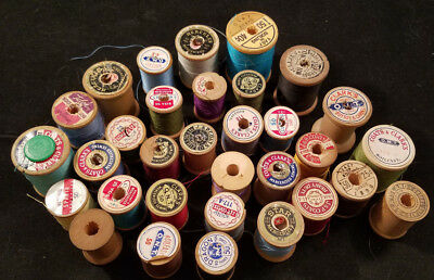 Large Lot of Antique Wooden Spools of Thread, some with thread, sewing, crafts