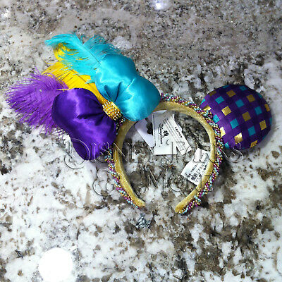 Disney Parks Mardi Gras Minnie Mouse Ears Headband with Feathers and Beads