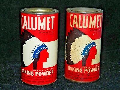 2 Vintage Calumet Double-Acting Baking Powder 1/2 lb. Size Cardboard and Tin Can
