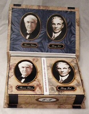 Nos Thomas A. Edison Henry Ford Playing Card Set Not Phonograph Or Gramophone