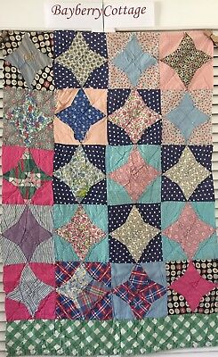 Vintage Antique Old Worn 1930's Prints Snowball Star Patchwork Quilt Piece #5