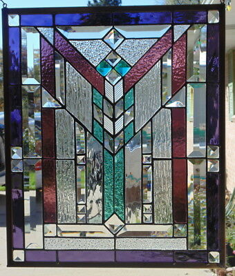 Stained Gl Window Hanging Mission Style 20 X 16 1 2 Br Border Edging