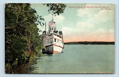 RARE EARLY 1900s STEAMSHIP KENORA POSTCARD - LAKE OF THE WOODS, MN - G4