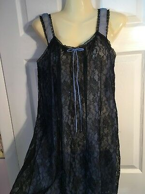 Vtg Black Lace Nightgown with Blue Sheer Chiffon  Sz Small