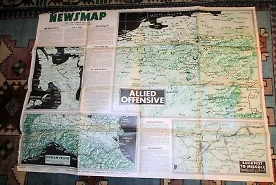 1944 WWII Newsmap News Map for the Armed forces Mulberry Floating Harbour #2