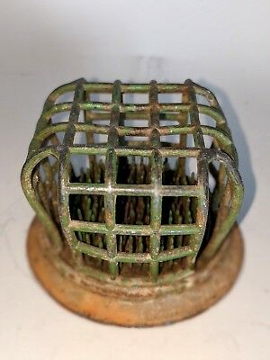 Vintage Floral Frog Eagle Metal Cage With Interior Spikes #32