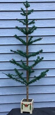 """Antique 46"""" Feather Christmas Tree, Red Berries Made in Germany, Muster Geschutz"""