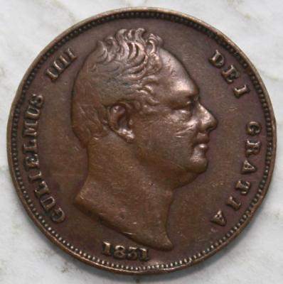 Great Britain 1831 Farthing, Nice Grade, Old Date King George The 4th