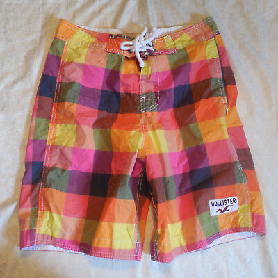6c301378f9 Hollister Mens Board Shorts Swim Trunks Size XS Plaid Mesh Lined Colorful  Surf