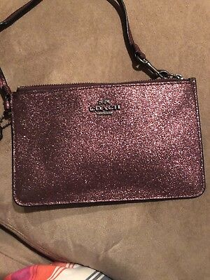 Authentic Coach Glitter Fabric Wristlet Phone Case New Without Tag