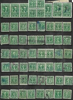 US 58, #RD293 – 1949 25¢, 50¢ Stock Transfer Stamps green, pairs Strip,block~