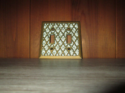 Vintage Faux Mother of Pearl Light Switch Cover Double Lattice Diamond