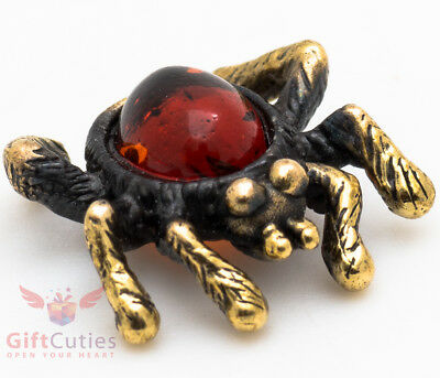 Solid Brass Amber Figurine of Spider Totem talisman IronWork