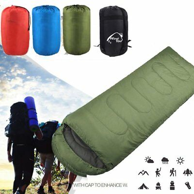 3/4 Season Waterproof Single Adult Camping Hiking Case Envelope Sleeping Bag UK