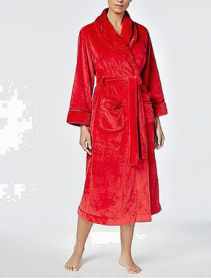 Charter Club Red Intimates Dimple Contrast Long Robe Size X Small NWT 69.50 b422deced