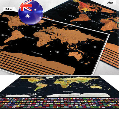 Large Scratch Off World Map Personalize Travel Poster Atlas Decor Christmas Gift