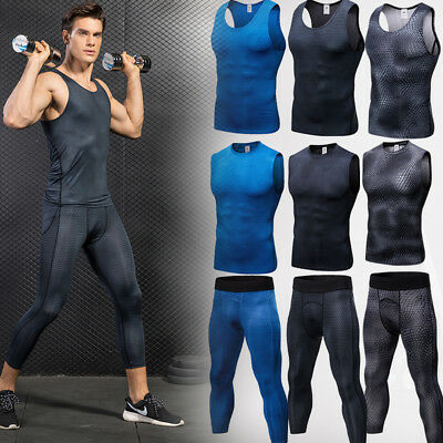 Men's Compression Vest 3/4 Tights Athletic Base Layers Gym Workout Sportswear