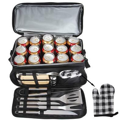 12PCS BBQ Grill Tools Set with 15 Can Black Insulated Waterproof Cooler Bag
