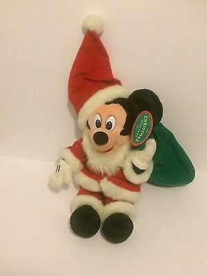 VTG Authentic Disney Store Mickey Mouse Christmas Plush Toy Exclusive  NEW 1995