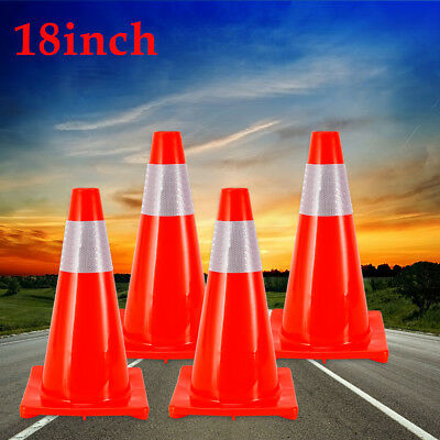 4x 45CM Road Traffic Cones Reflective Collar Parki Emergency Safety Cone PVC Red