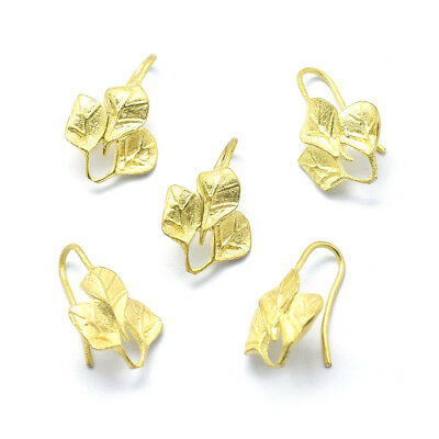 50pcs Unplated Brass Leaf Earring Hooks Bumpy French Earwire Nickel Free 21x14mm