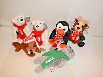 Collectible Coca-Cola Brand Lot of 6  Bean Bag Plush Toys