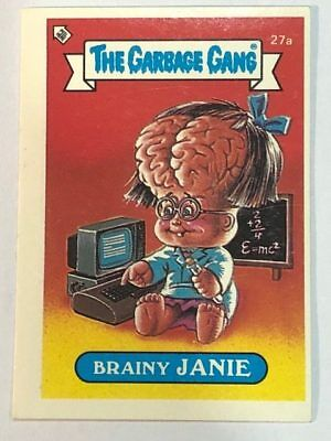 The Garbage Gang Australia Card Sticker Garbage Pail Kids 27a Brainy Janie 1985