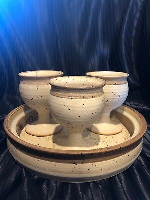Ceramic Goblets and Matching Dish / Tray