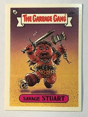 The Garbage Gang Australia Card Sticker Garbage Pail Kids 33b Savage Stuart 1985