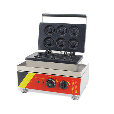 Safty Use 110V Commercial Donut Machine Maker Waffle Automatic Electric 6 Pieces