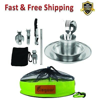 Tableware Mess Kit 13 Piece Stainless Steel Plate Bowl Cup Spoon Mesh Travel Bag