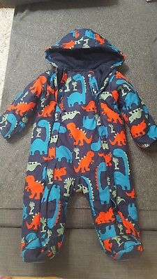 Baby boy's M&S  Dinosaur print snowsuit/all-in-one Size 6-9 months used