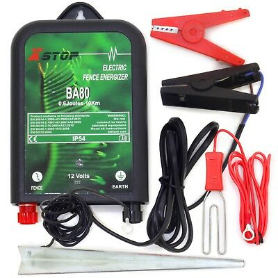 12v Battery 10km Powered Electric Fence Fencing Energiser Unit Earth .5J RoHS CE