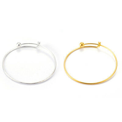 """10pcs Slider Adjustable Brass Cuff Bangle Blanks Smooth Ball End Findings 2.5"""""""