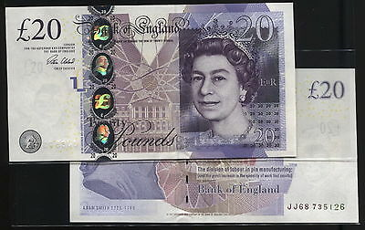 Bank England £20 pound,ND2006 P392 SUPERB GEM UNC 2 Banknotes Consecutive Nbrs