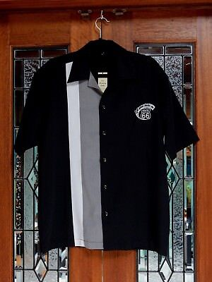 Men's Vintage 50's 60's Route 66 Rockabilly Charlie Sheen Style Bowling Shirt