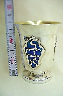 Sabbath Kiddish Cup Handmade Sterling Silver & Blue Enamel On Wine Blessings