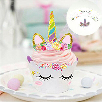 Colorful Unicorn Cupcake Wrappers Cake Flag Gift Packaging Birthday Party Supply