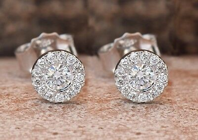 4.00 Ct Round Cut Diamond 14k White Gold Over Halo Screw Back Stud Earrings