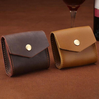 Unisex Genuine Leather Small Wallet Coin Purse Bag Money Key Holder Mini Pouch