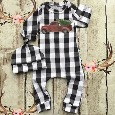 USA Baby Boys Infant Toddler Plaid Tops Romper Jumpsuit Bodysuit Clothes Outfits