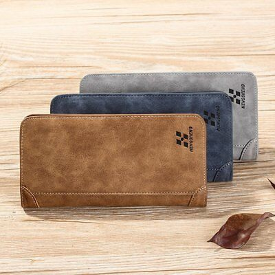 Vintage Long Soft PU Leather Wallet Male Purse Large Capacity Card Holders OU